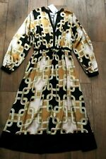 NEW&TAGS RICHARD ALLAN for H&M scarf print silky midi dress SIZE 10 chain retro