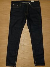 NWT Mens MNML Ankle Zips Tapered button-fly slim dark blue jeans 38 x 34