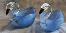 More details for two swan hand painted blue bowls with clear glass neck & head and black beak