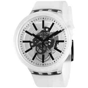 Swatch Black-In-Jelly Quartz White Skeleton Dial Watch SO27E101