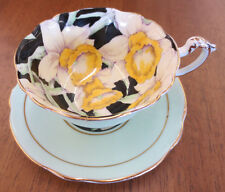 Vintage Paragon England China Daffodil Green & Black Tea Cup & Saucer AS IS