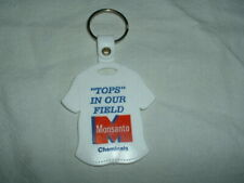 VINTAGE PLASTIC KEY CHAIN FOB TOPS IN OUR FIELD  MONSANTO CHEMICALS