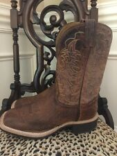 New Tony Lama Smooth Ostrich Square Toe Cowboy Crepe Boots Sz 9 EE Griffon 9076