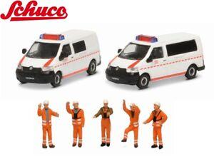 Schuco H0 452655500 MHI Set DB Notfall mit 2 VW T5 und Figuren 1:87 - NEU + OVP
