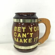 Vintage Large amber Glass Beer Stein Mug Wooden Handle Bet You Can't Make It#454