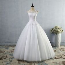 A-line Wedding Dress White Lace Bride Dresses Gown Vintage Style Back Sleeveless