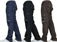 Mens Jeans Combat Cargo New Casual Work Pants Jeans Trousers Waist Sizes