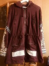 free people embroidered parka jacket oversized sz M /L ?XL