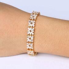 Luxury Shiny Gold Plated Mona Liza Cross Cubic Zircon  Women Wedding  Bracelet