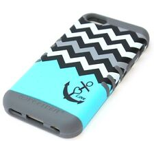 iPhone 5C - HARD & SOFT RUBBER HYBRID HIGH IMPACT CASE BLUE GREY CHEVRON ANCHOR