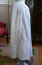 1900 Edwardian  White Cotton Skirt  Back Pleated  Wide Eyelet  Hem
