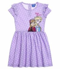 Disney Frozen Summer Dress Elsa Anna Girls Kids Age 4 6 8 10 100% Cotton