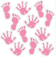 BABY GIRL FOOT and HAND PRINTS wall sticker 12 decals nursery room decor newborn