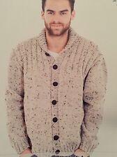 M6 - Knitting Pattern - Men's Aran Warm & Chunky Cardigan / Jumper - 7 Sizes