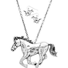 """Vintage Running Horse Fashionable Necklace & Earring Set - Fish Hook - 18"""" Chain"""