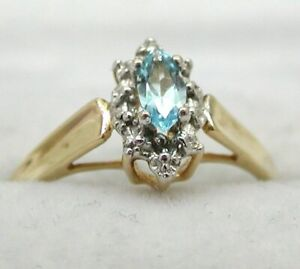 Vintage 10 carat Gold Marquise Cut Blue Topaz Solitaire Ring Size M.1/2