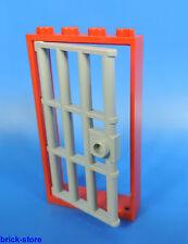 LEGO Prison Porte / 1x4x6 Cadre Rouge / avec insert grille gris clair