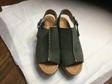 "Marc Fisher Green   Women's Sandals  Size 7 Cork Wedge Worn 1X 3.5""heel"