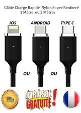Câble Chargeur USB 2.4A Charge Rapide Nylon Tressé iPhone Samsung HUAWEI Sony LG