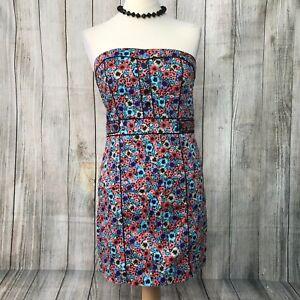 Beautiful Floral H&M Strapless Cotton Dress Size 12 VGC