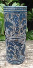 Vintage Studio Pottery Tall Cylinder Vase Blue Bird Foliage Decoration Signed