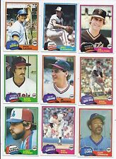 """1981 Topps BASEBALL CARDS """"PICK FIFTEEN"""" COMPLETE YOUR SET! CHOOSE ANY 15!!"""