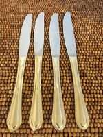 "Hampton Stainless Gold Electroplate Rnd Tip HSV149~4 Dinner Knives 9 1/8"" EUC"