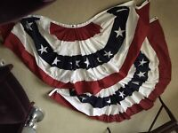 TRUE VINTAGE COTTON STITCHED PATRIOTIC AMERICAN FLAG BUNTING -  6 FEET WIDE