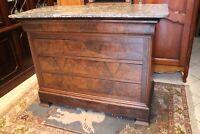 Commode à 4 tiroirs en placage d'acajou plateau marbre Louis-Philippe