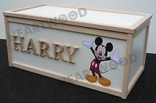 TOY BOX WOODEN WITH MICKEY MOUSE DECAL & 6 LETTERS/CHILDREN/BOYS/GIRLS/STORAGE