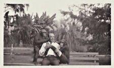 Vintage Photo Man on Park Bench with Chimpanzee 2 Chimps Rare Unique Photograph
