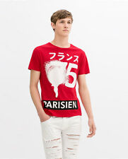ZARA MAN FRANCE PARIS JAPAN Short Sleeve Red Graphic T-Shirt*SOLD OUT*New*RARE*L