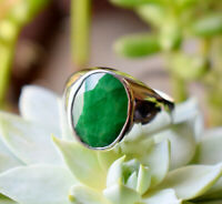 Natural Faceted Emerald Gemstone 925 Sterling Silver Handmade Men's Gift Ring 10