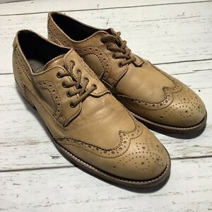 Red Tape Wingtip Oxford Shoes  Tan Leather Men's 10.5 RT Yorke 41