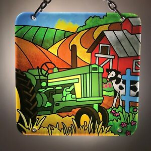 Joan Baker Designs Hand Painted art Glass Suncatcher-SFS4019 Farm New Item