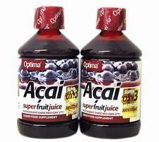 2 Bottiglie Optima Aloe Pura Acai Super Frutta Succo 500 ml Antiossidante