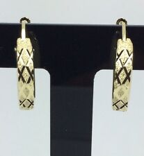 14K Solid Yellow Gold Diamond Cut Hoop Earrings