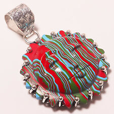 """CHARMING RAINBOW CALSILICA MOONFACE ETHNIC STYLE Jewelry PENDANT 2"""" A-388"""