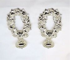 2 french rose finials nickle plated brass silver drapery curtain rod finials new