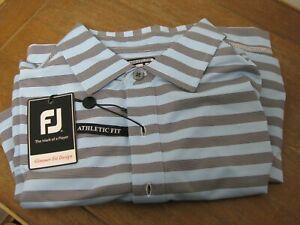Footjoy End on End Multistripe Golf Polo Shirt L Navy/LT Blue BRAND NEW!!