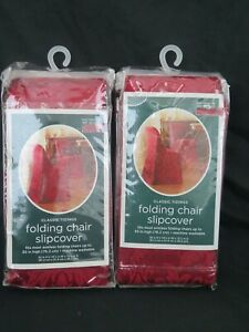 New 2x Classic Tidings Christmas Folding Chair Slipcover Dark Red Floral Design