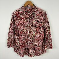 Suzannegrae Womens Top 14 Multicoloured Floral Long Sleeve Collared Button Front