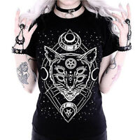 Women Galaxy Short Sleeve Cat Print Black Loose Punk Gothic Tops Casual T-Shirt