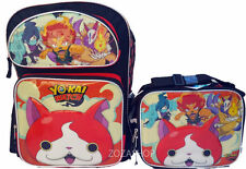"""Yo-kai Watch Large School 16"""" Backpack Boy's Book Bag with Lunch Set Licensed"""