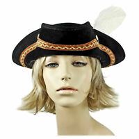 Adult Women's Black Embroidered w/ Feather Halloween Cosplay Costume Pirate Hat