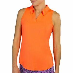 JoFit Women's Golf Tech Cutaway Sleeveless Polo Shirt - Flamingo - Pick Size