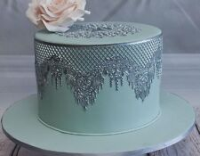 SILVER EDIBLE SUGAR LARGE 3 LACES =105 CM CAKE BIRTHDAY ANNIVERSARY ENGAGEMENT