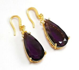 "Amethyst Gemstone Handmade Ethic Gold Plated Jewelry Earring 4"" SE-165"