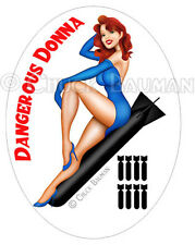 Bomber Girl Pin-Up Sticker DANGEROUS DONNA babe pinup sticker decal