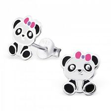 925 Sterling Silver Panda Bear With Pink Bow Stud Earrings & Mini Gift Box
